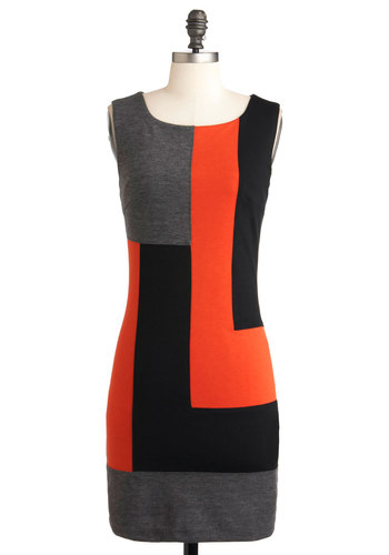 Welcome Backstage Dress - Jersey, Mid-length, Orange, Black, Grey, Party, Colorblocking, Shift, Sleeveless, Work
