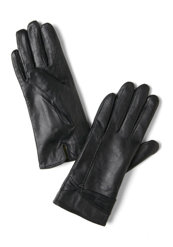 Scenic Route Chic Gloves - Black, Solid, Bows, Leather, Party, Film Noir, Vintage Inspired, Winter