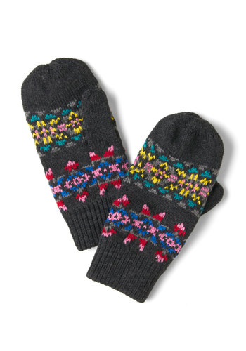Charcoal, Calm, and Collected Mittens - Grey, Multi, Knitted, Winter, Casual, Folk Art, Rustic
