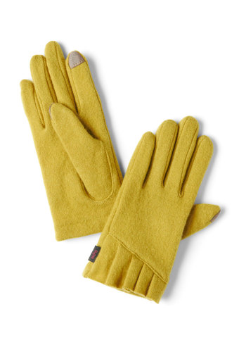 Tech Me With You Gloves in Chartreuse - Yellow, Solid, Pleats, Winter
