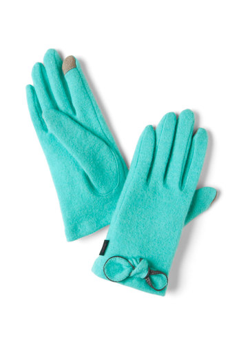 Tech Sassy Gloves in Turquoise - Blue, Solid, Bows, Winter