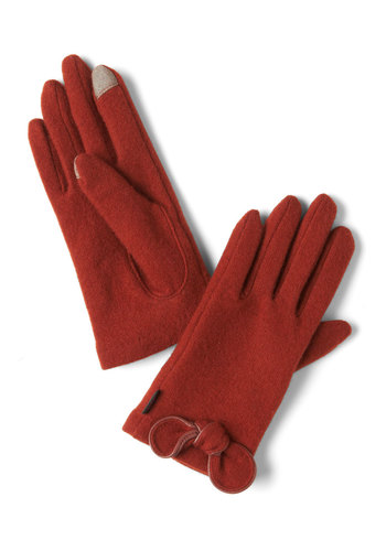 Tech Sassy Gloves in Paprika - Red, Solid, Bows, Winter