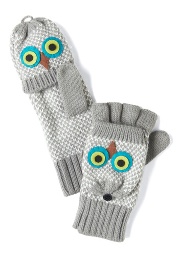 Hoot of the Matter Convertible Gloves in Grey - Multi, Knitted, Owls, Kawaii, Winter, Grey, White, Quirky
