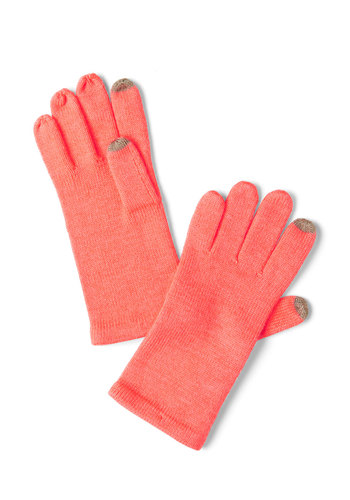 Tap into Beauty Gloves in Coral - Orange, Pink, Solid, Winter, Coral, Holiday Sale