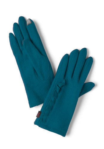 On the Silver Touchscreen Gloves in Teal - Blue, Solid, Ruffles, Winter