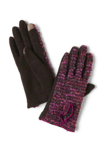 Dial Two-Tone Gloves - Purple, Multi, Winter, Ruffles, Holiday Sale