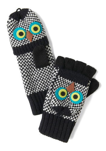 Hoot of the Matter Convertible Gloves in Black - Multi, Knitted, Owls, Winter, Kawaii, Black, White, Quirky