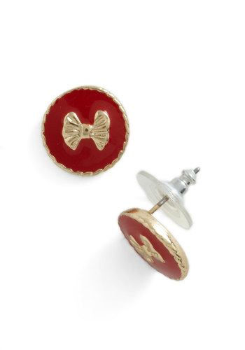 Me and My Boutique Earrings in Red - Red, Gold, Solid, Bows, Variation, Nautical, Gold