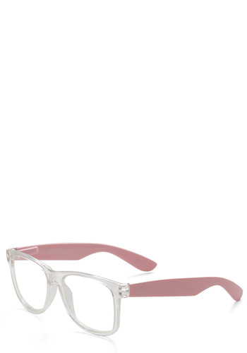Next Chapter Glasses in Clear - Pink, White, Solid, Scholastic/Collegiate, Work