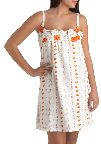 Sleep Perchance to Seam Nightgown by Munki Munki - White, Flower, Kawaii, Cotton, Orange, Handmade & DIY, Holiday Sale