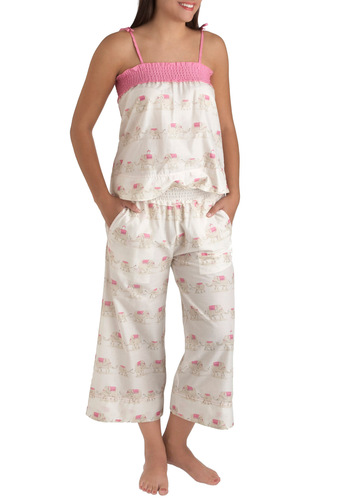 Pachyderm Come True Pajamas by Munki Munki - White, Print with Animals, Kawaii, Cotton, Sheer, Pink, Pockets, Holiday Sale