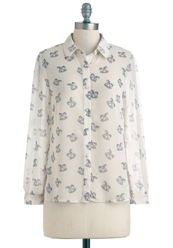 Youth and Me Forever Top by Sugarhill Boutique - White, Blue, Novelty Print, Casual, Long Sleeve, Mid-length, Sheer, Button Down, Collared, International Designer, Tis the Season Sale