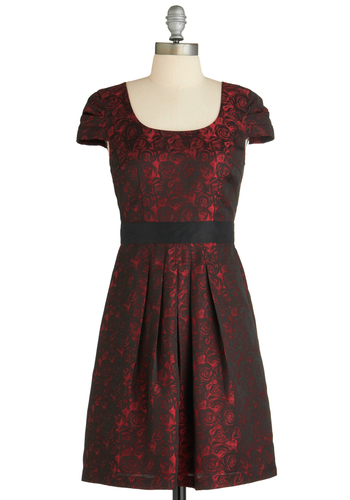 Along Rose Lines Dress - Mid-length, Black, Floral, Backless, Pleats, Cocktail, Cap Sleeves, Red, Holiday Party, Fit & Flare, Special Occasion