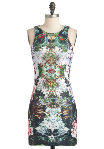 Laser Flight Show Dress - Short, Multi, Print, Exposed zipper, Party, Bodycon / Bandage, Sleeveless, Girls Night Out, Statement