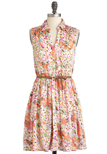 Petal Reflections Dress - Mid-length, Multi, Floral, Belted, Casual, Daytime Party, Shirt Dress, Sleeveless, Spring, Multi, Pockets, Button Down, Collared