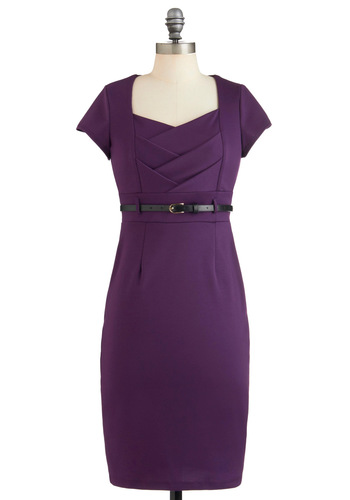 I Dream of Aubergine Dress - Mid-length, Purple, Solid, Belted, Work, Sheath / Shift, Short Sleeves, Fall, Cocktail, Variation