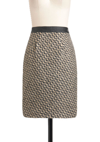 Back to Classic Skirt by Darling - Mid-length, Black, Work, Pencil, Tan / Cream, Print, Exposed zipper, Winter