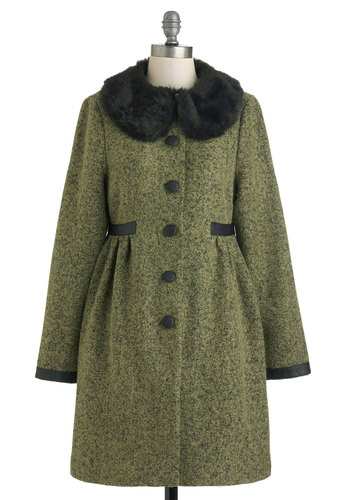 Moss Be Fate Coat by Darling - Long, Green, Black, Buttons, Long Sleeve, 3, Vintage Inspired, 40s
