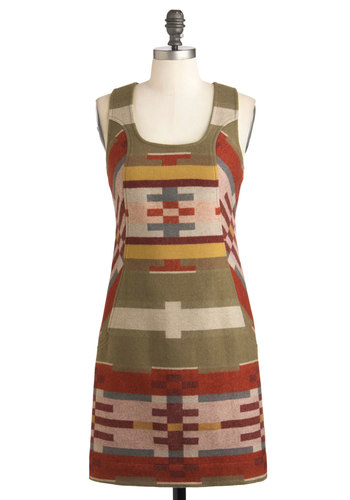 Pendleton Adventure Capital Dress by Pendleton - Mid-length, Orange, Yellow, Green, Brown, Print, Pockets, Sheath / Shift, Racerback, Fall, Rustic