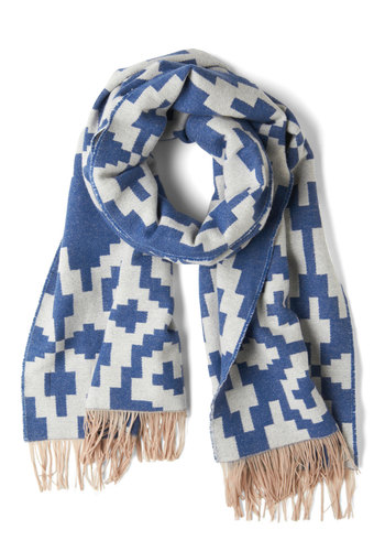 Pendleton Pathway to Go Scarf by Pendleton - Tan / Cream, White, Print, Fringed, Winter, Rustic