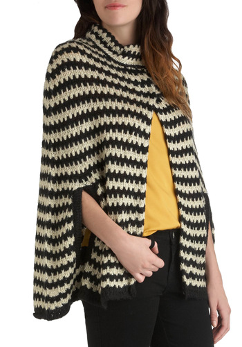 Chill Out and About Cape by Pink Martini - Tan / Cream, Knitted, Black, Stripes, Long