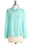 Trim de Menthe Top - Mid-length, Pearls, Rhinestones, Party, Long Sleeve, Solid, Buttons, Pastel, Glitter, Sheer, Mint, Button Down, Collared, Blue