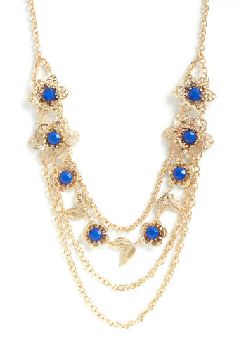 Garland Party Necklace - Gold, Blue, Flower, Rhinestones, Cocktail, Daytime Party