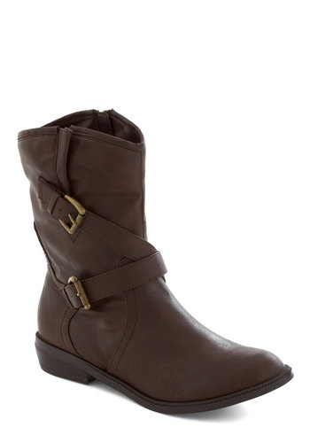 Adventure to Guess Bootie - Brown, Buckles, Flat, Low, Faux Leather, Casual