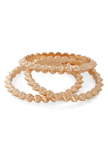 Spike It Rich Bracelet Set - Gold, Studs, Party, Casual, Urban, Tis the Season Sale