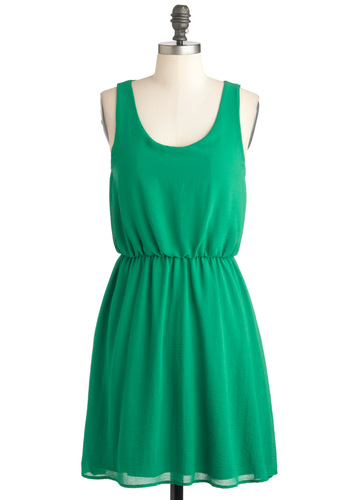 Canvas for Creation Dress - Green, Solid, Casual, A-line, Tank top (2 thick straps), Crew, Summer, Mid-length