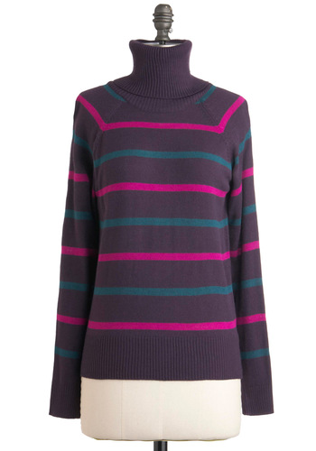 A Stripe to See Sweater in Plum - Mid-length, Purple, Green, Pink, Stripes, Long Sleeve, Holiday Sale