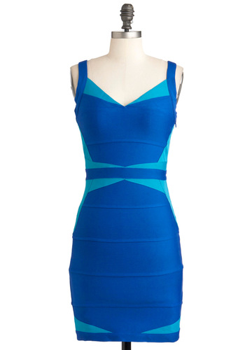 Echo of Deco Dress - Blue, Backless, Girls Night Out, Bodycon / Bandage, Short, Colorblocking