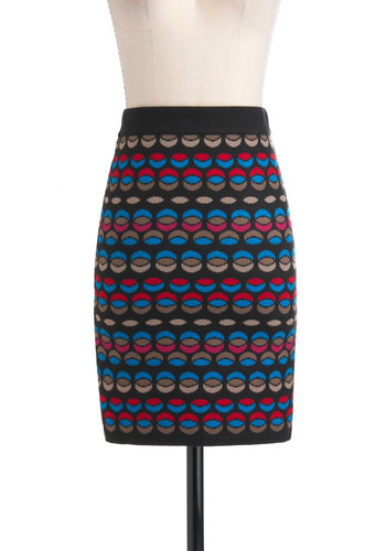 Effer-crescent Skirt by Jack by BB Dakota - Mid-length, Multi, Blue, Pink, Brown, Black, Pencil, Party, Casual, Knitted