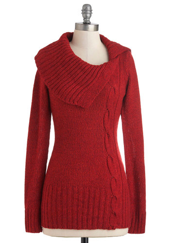 Fold Weather Sweater - Red, Solid, Knitted, Long Sleeve, Mid-length