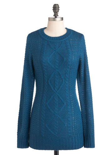 Roam the Riverside Sweater - Blue, Solid, Knitted, Long Sleeve, Mid-length, Tis the Season Sale