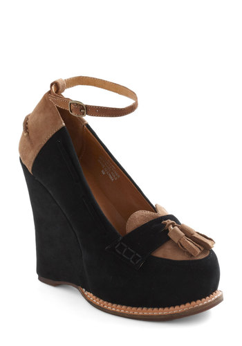 Loafer the Top Wedge by Jeffrey Campbell - Black, Tan / Cream, Tassles, Casual, Leather, Suede, High, Menswear Inspired, Scholastic/Collegiate, Platform, Wedge