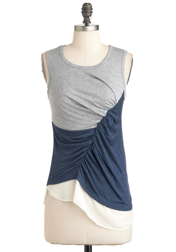 Pools Ruche In Top - Blue, Casual, Sleeveless, White, Ruching, Jersey, Grey, Colorblocking, Short