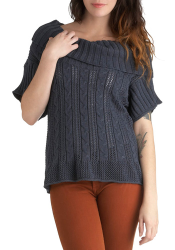 One Hit Fun-der Sweater in Slate - Mid-length, Grey, Solid, Knitted, Short Sleeves, Casual, Cowl, Rustic, Fall, Cotton