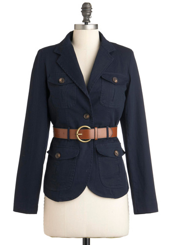 Mock Trial President Jacket - Mid-length, Blue, Solid, Pockets, Belted, Casual, Long Sleeve, Military, 2, Cotton