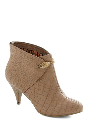 Croc Around the Clock Bootie by B.A.I.T. Footwear - Mid, Leather, Faux Leather, Tan, Party, Urban