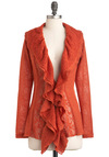 Pumpkin Soup Cardigan - Orange, Lace, Ruffles, Long Sleeve, Sheer, Mid-length