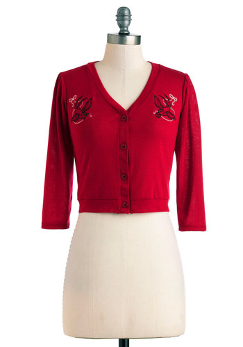 Fly and By Cardigan - Red, Embroidery, Casual, Short, Rockabilly, 3/4 Sleeve, Vintage Inspired, 50s, V Neck, Pinup, Red, 3/4 Sleeve
