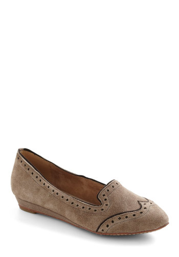 Groove Your Feet Wedge by Miz Mooz - Tan, Menswear Inspired, Flat, Wedge