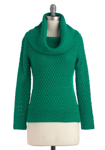 Courtesy Cowl Sweater - Mid-length, Green, Solid, Knitted, Long Sleeve, Casual, Fall, Cowl
