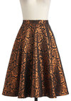 Songs by the Fire Skirt by Bettie Page - Floral, A-line, Bronze, Black, Holiday Party, Vintage Inspired, 60s, Long