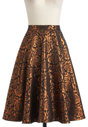 Songs by the Fire Skirt - Floral, A-line, Bronze, Black, Holiday Party, Vintage Inspired, 60s, Long