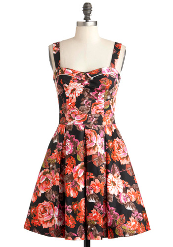 Posed in Posies Dress - Mid-length, Cotton, Multi, Orange, Pink, Black, Floral, Pleats, Daytime Party, Fit & Flare, Sweetheart, Summer