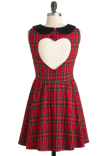 Study Heart-Breaker Dress - Short, Red, Black, Plaid, Cutout, Peter Pan Collar, Scholastic/Collegiate, A-line, Sleeveless, Fall, Party, Holiday Party, Collared, Fit & Flare