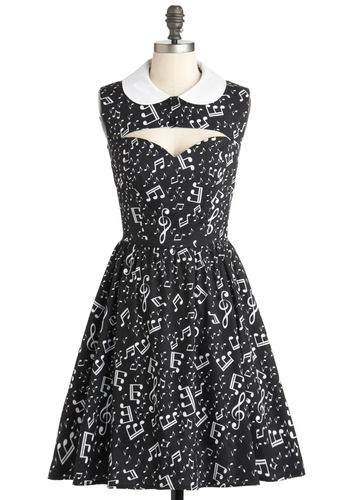 Ooh La La-capella Dress - Mid-length, Cotton, Black, White, Novelty Print, Buttons, Cutout, Peter Pan Collar, Party, Music, Fit & Flare, Sleeveless