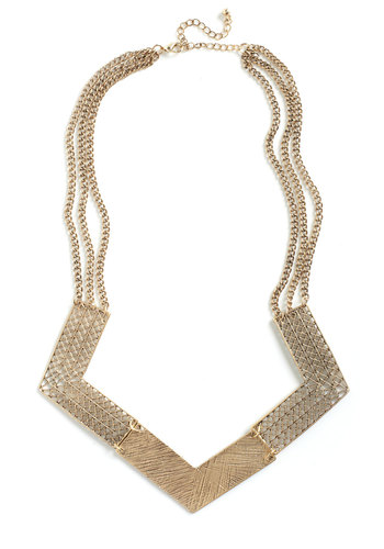 Striking Statement Necklace - Gold, Solid